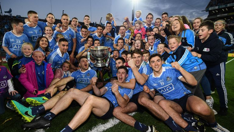 The Dublin team celebrate with the Sam Maguire cup after the GAA Football All-Ireland Senior Championship Final replay