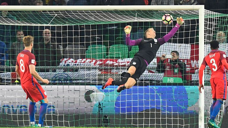 England goalkeeper Joe Hart makes a stunning save in the 0-0 draw