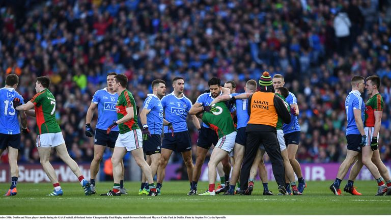 Dublin and Mayo players tussle during the GAA Football All-Ireland Senior Championship Final Replay.