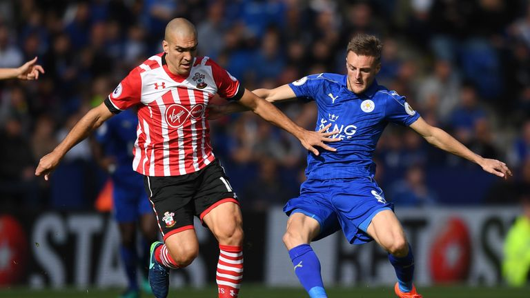 Oriol Romeu and Jamie Vardy battle for possession at the King Power Stadium