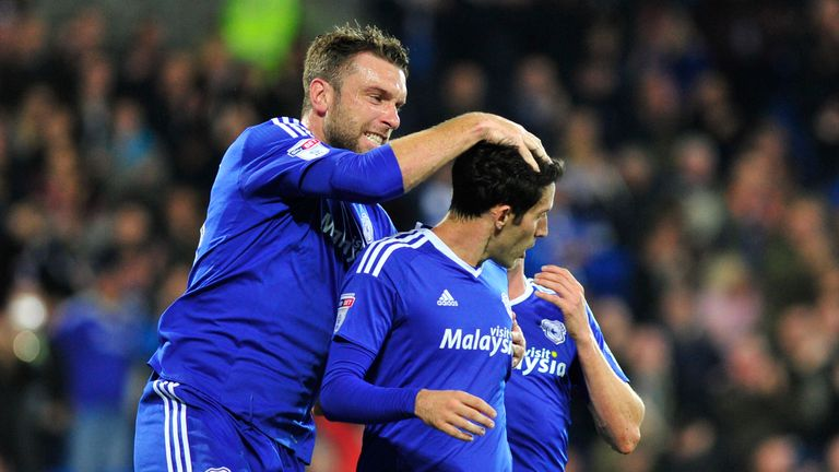 Cardiff City's Peter Whittingham celebrates scoring his side's first goal