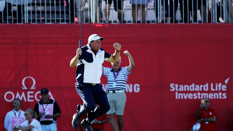 Mickelson jumps for joy at the recent Ryder Cup and admits he is still buzzing from Hazeltine