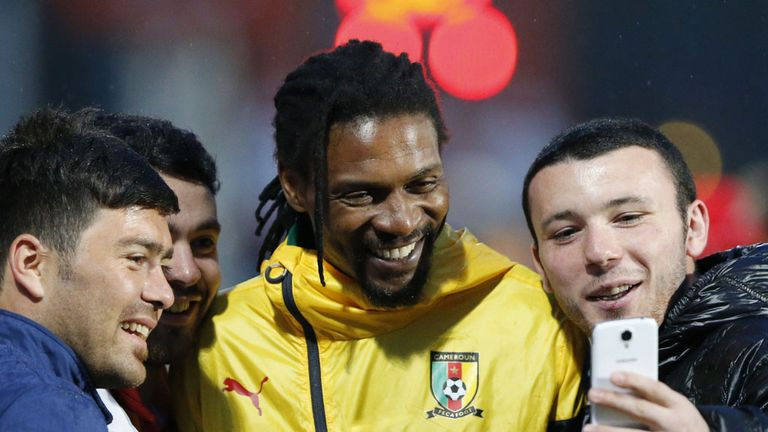 Rigobert Song (centre) has been working as the manager of Chad since October 2015