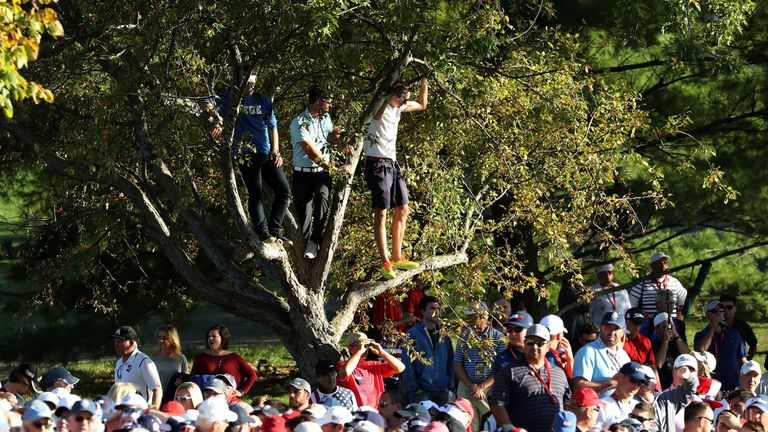 There were huge crowds at Hazeltine National throughout the three days