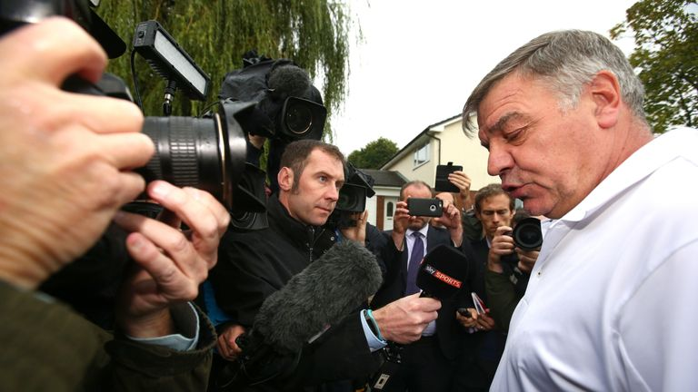 Sam Allardyce speaks to the press after leaving his post as England manager