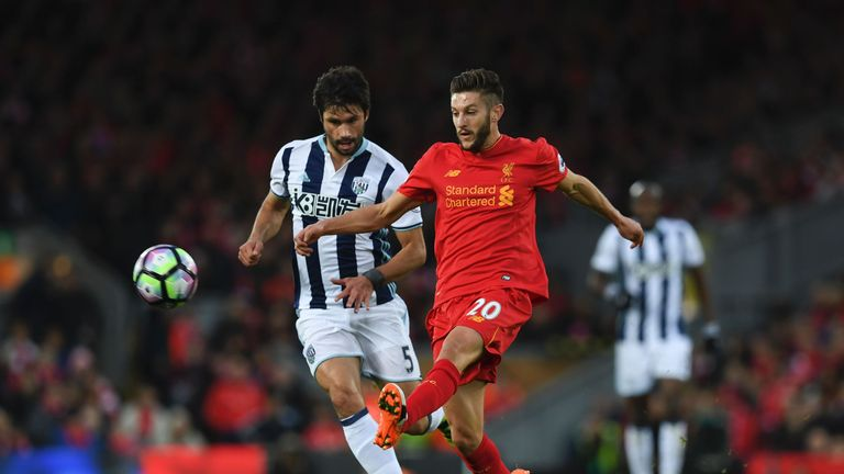 Adam Lallana made his 100th Liverpool appearance in Saturday's win over West Brom