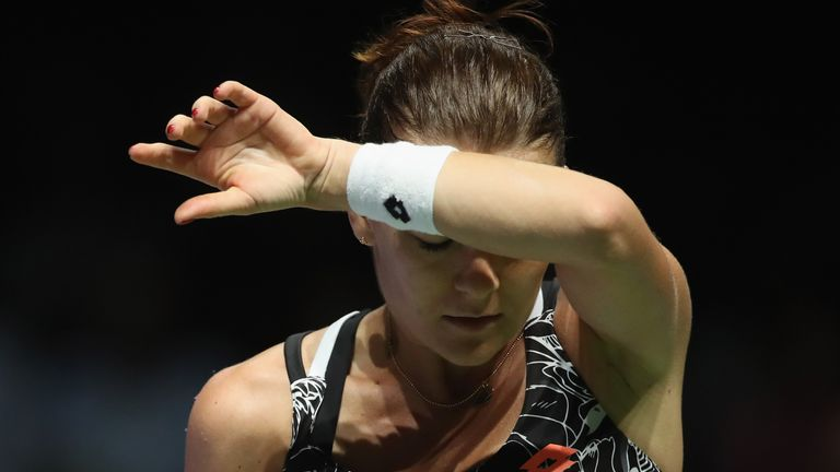 Radwanska wasted a match point before losing her opening match in Singapore