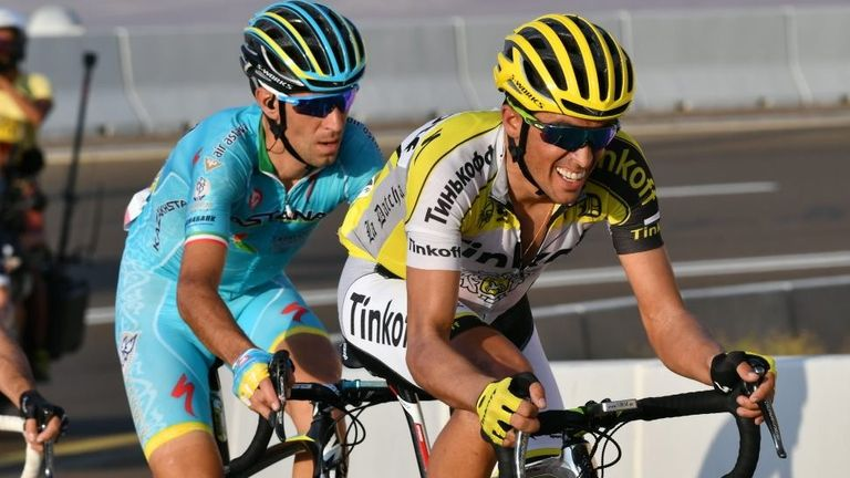 Contador in action against Vincenzo Nibali at the Abu Dhabi Tour