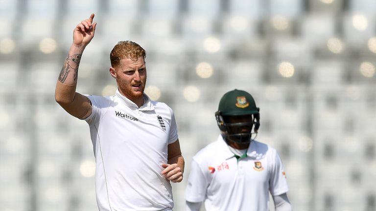 Ben Stokes celebrates dimisssing Taijul Islam in the second Test