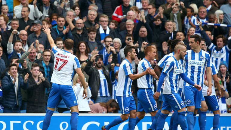 Glenn Murray of Brighton celebrates after scoring the first goal of the game against Norwich