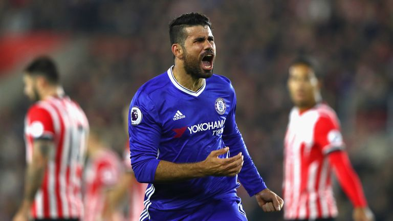 Diego Costa scored his eighth goal of the season against Southampton