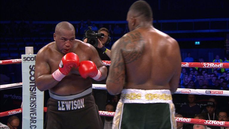 Dillian Whyte and Ian Lewison battle from the centre of the ring