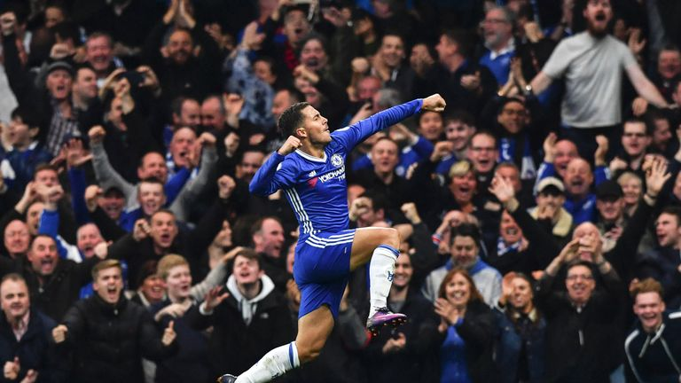 Hazard has scored nine goals in 23 appearances in all competitions for Chelsea this season