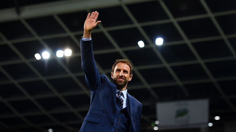 Interim England manager Gareth Southgate waves to the crowd