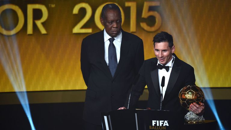 Lionel Messi picks up the 2015 FIFA Ballon d'Or award at last year's ceremony