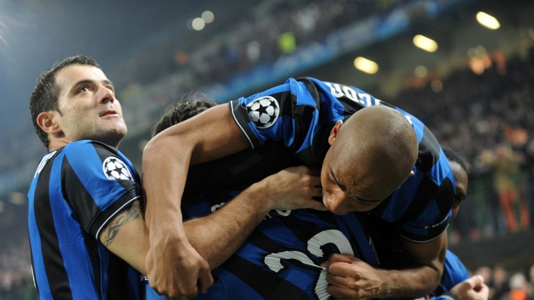 Inter Milan players celebrate after Diego Milito's opener at the San Siro