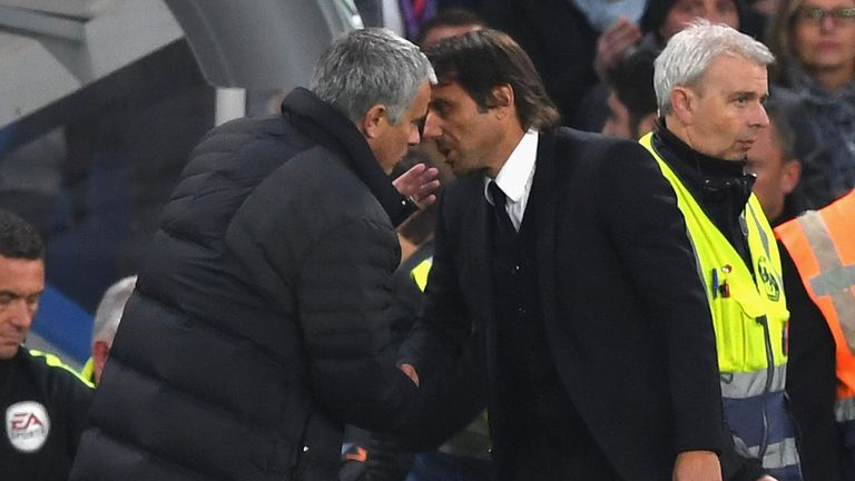 Antonio Conte (right) and Jose Mourinho exchange words in Oct 2016