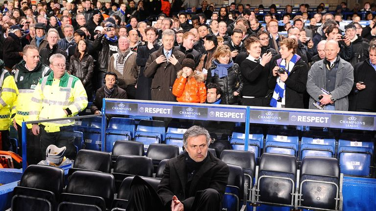 Mourinho takes his seat in the away dugout before kick off