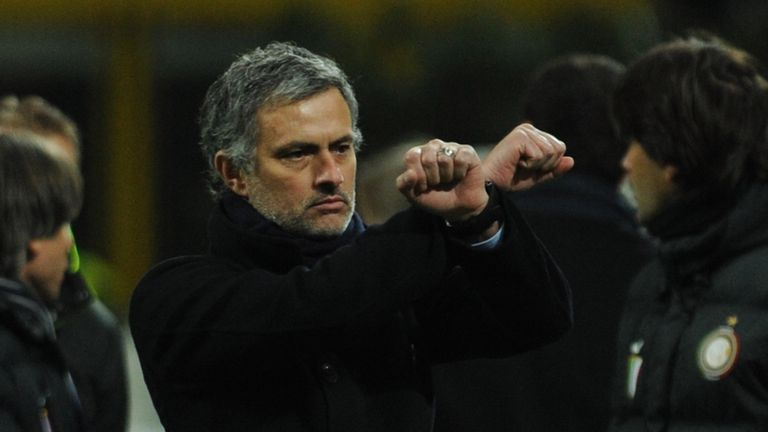 Jose Mourinho makes a handcuff gesture during an Inter Milan clash with Sampdoria