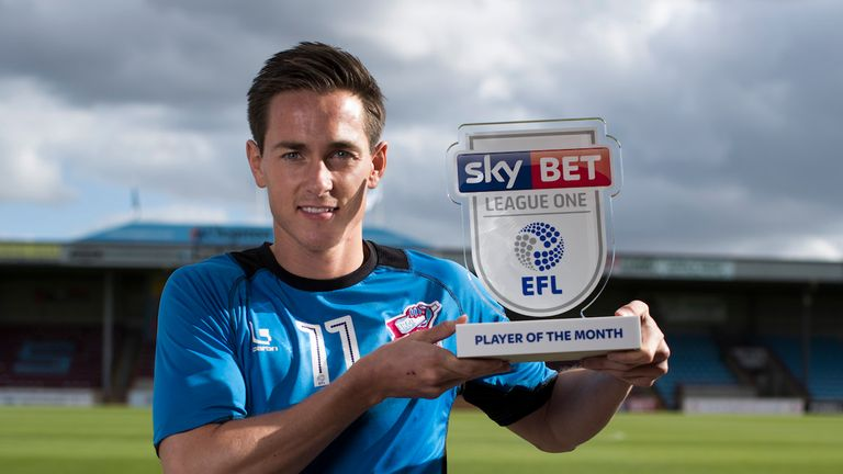 Josh Morris with his Player of the Month award.