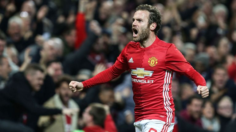 Juan Mata scored United's winner in their EFL Cup clash with Man City