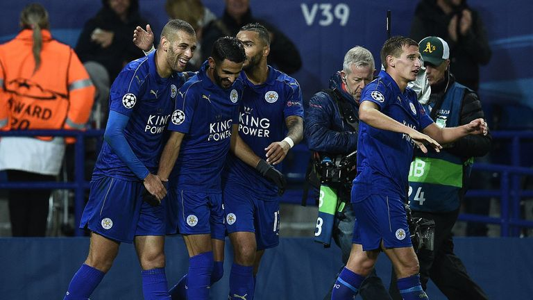 Riyad Mahrez (centre) is congratulated after scoring the only goal of the game against FC Copenhagen