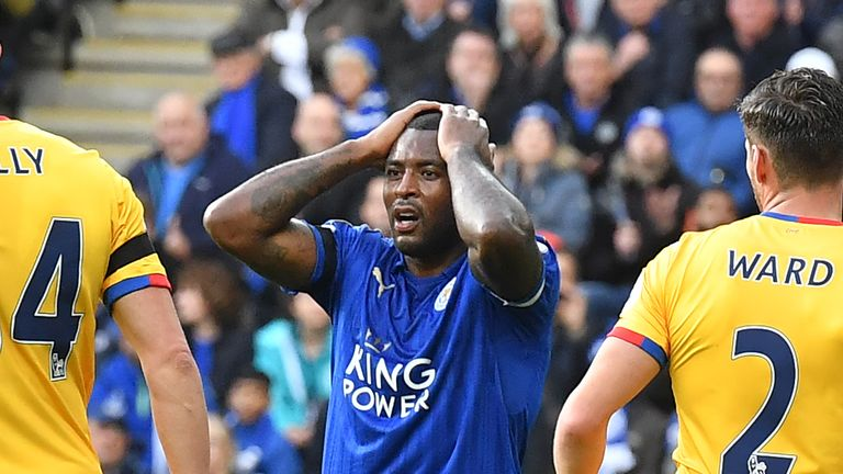 Wes Morgan reacts after a missed chance