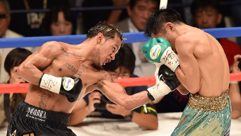 Luis Concepcion (left) beat Kohei Kono in Japan to become WBA World super-flyweight champion