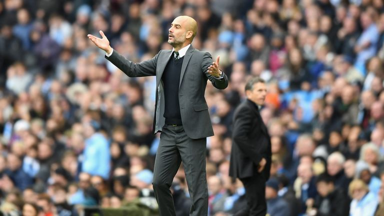 Pep Guardiola gives orders to his side from the sidelines