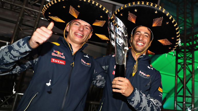 After Vettel's demotion, Red Bull staged a podium ceremony of their own for Ricciardo late on Sunday night