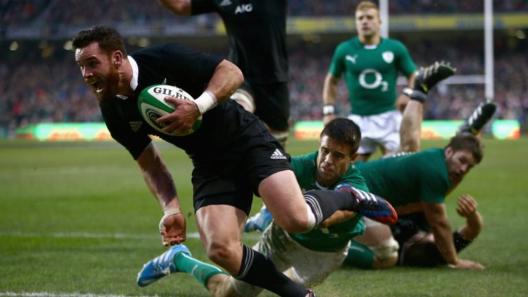 Ryan Crotty scores the match-winning try against Ireland in Dublin