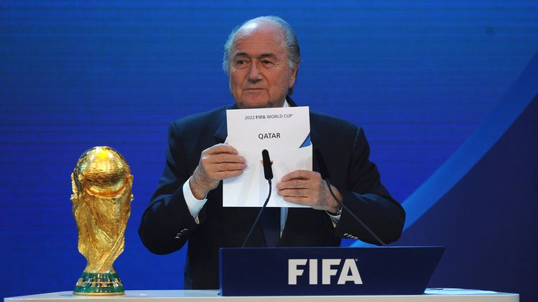 FIFA President Sepp Blatter names Qatar as the winning hosts of the 2022 World Cup finals