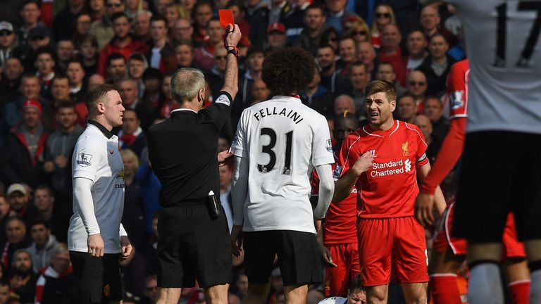 Liverpool's midfielder Steven Gerrard was sent off against United in March 2015