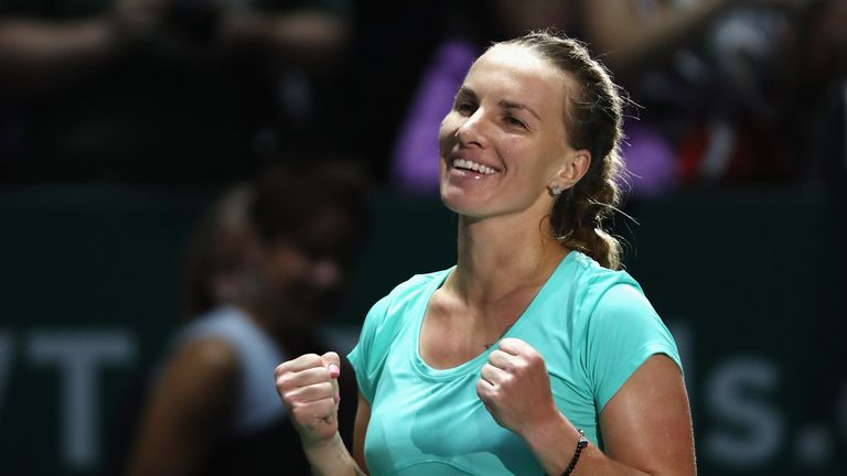 Kuznetsova was at least able to smile after coming through a three-set marathon with a victory