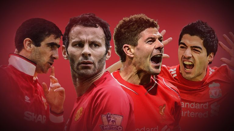 Steven Gerrard has come out on top of Sky Sports' vote of the top 50 players from Liverpool and Manchester United