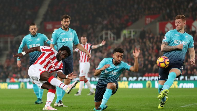 Wilfried Bony hit form for Stoke against Swansea