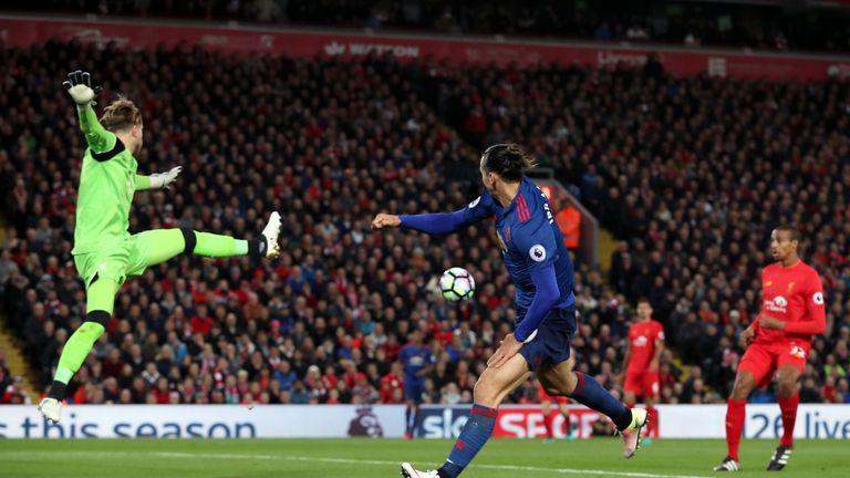 Zlatan Ibrahimovic heads across goal when he should have scored