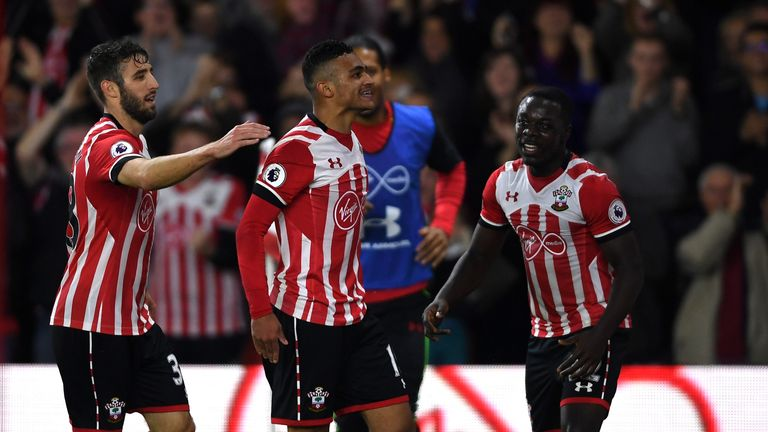 McQueen (L) celebrates Sofiane Boufal's goal against Sunderland in the EFL Cup fourth round