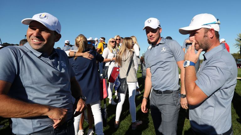 Europe's Sergio Garcia, Danny Willett and Andy Sullivan put on a brave face after the defeat