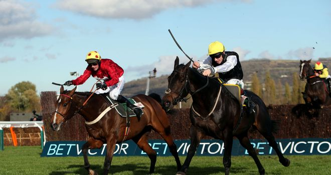 Astracad (right) beats Ericht in the Veterans' Chase at Cheltenham's Open Meeting