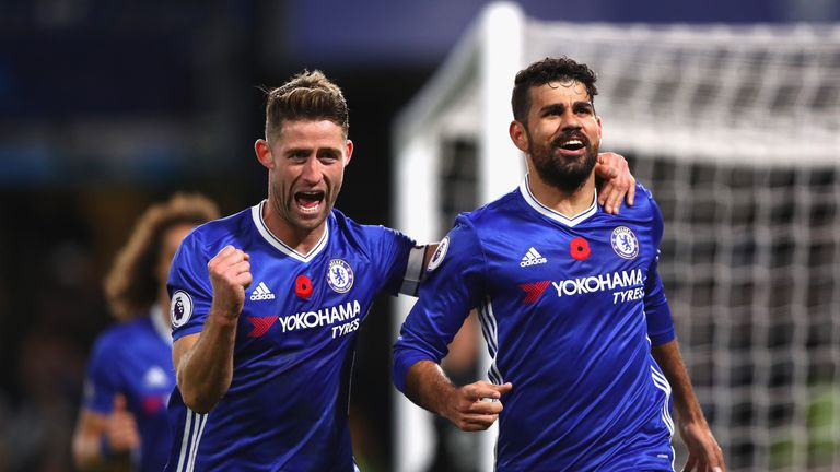 Diego Costa celebrates scoring for Chelsea with Gary Cahill