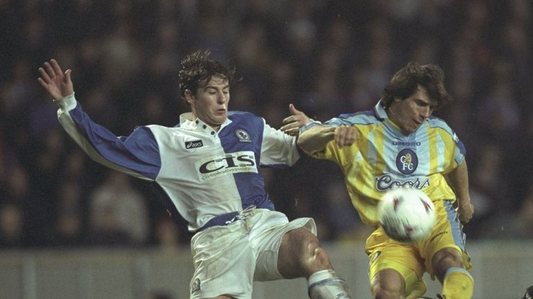 Zola in action on his Chelsea debut against Gary Croft of Blackburn