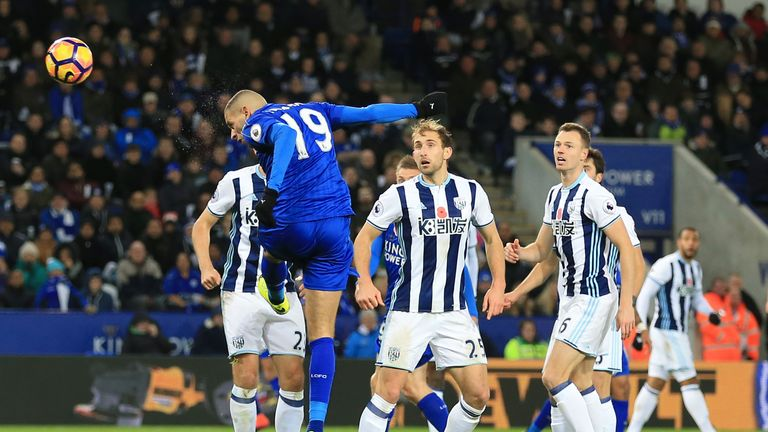Islam Slimani (left) scored Leicester's only goal of the game