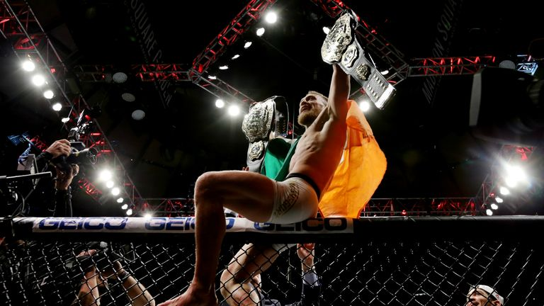 McGregor became UFC's first-ever two-weight champion when he defeated Eddie Alvarez in November 2016
