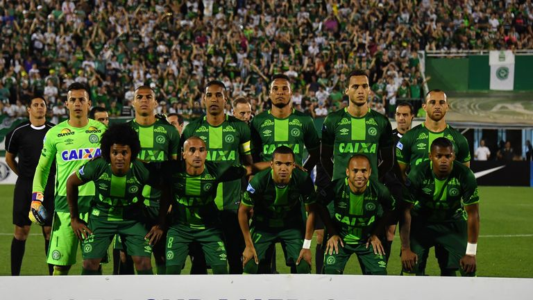 Brazil's Chapecoense players pose for pictures during their 2016 Copa Sudamericana semi-final