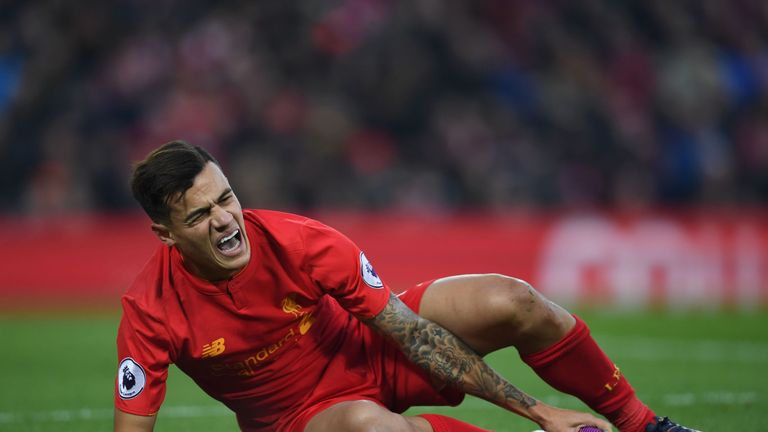 Coutinho has been absent since injuring his knee against Sunderland on November 26