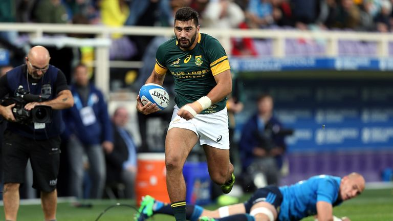 Damian de Allende will partner Jesse Kriel at centre for the Springboks
