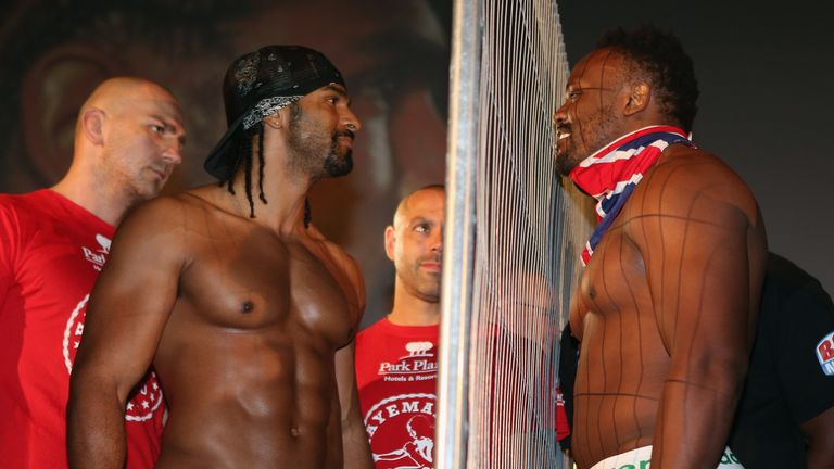 David Haye and Chisora were separated ahead of their heavyweight clash