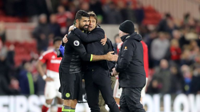 Diego Costa and Antonio Conte have won the Premier League's monthly awards for November