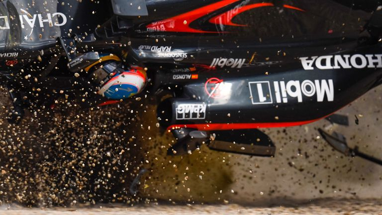 Fernando Alonso goes airborne during the Australian GP - Picture by Sutton Images